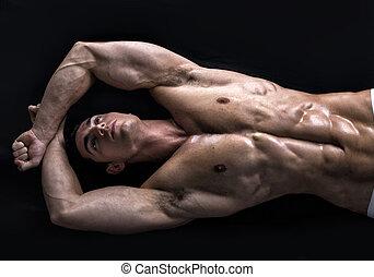 aantrekkelijk, jonge man, op de vloer, met, gespierd, afgescheurde, lichaam