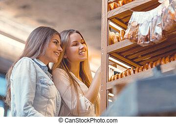 aantrekkelijk, meiden, in, de, bakkerij