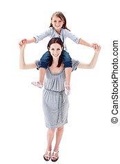 aantrekkelijk, moeder, geven, haar, dochter, ritje op de rug rit