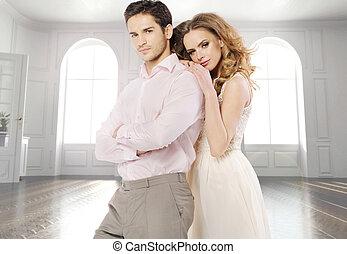 aantrekkelijk, paar, in, de, luxe, flat