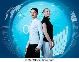 aantrekkelijk, paar, van, businesswomen, in, futuristisch, interface