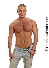 aantrekkelijk, shirtless, mannelijke , in, jeans, vrijstaand, op wit
