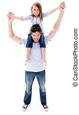 aantrekkelijk, vader, geven, zijn, dochter, ritje op de rug rit