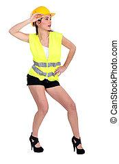 aantrekkelijk, vrouw, geklede, in, bouwsector, tandwiel
