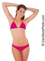 aantrekkelijk, vrouw, in, bikini