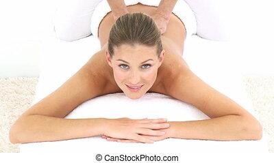 aantrekkelijk, vrouw, krijgen, achtermassage