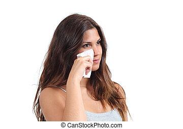 aantrekkelijk, vrouw, poetsen, haar, gezicht, met, een, de baby veegt af