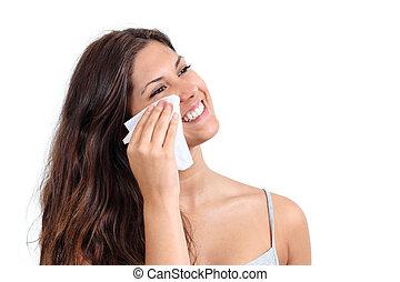 aantrekkelijk, vrouw, poetsen, haar, gezicht, met, een, weefsel