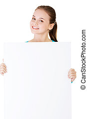 aantrekkelijk, vrouwenholding, een, poster, met, kopie, space.