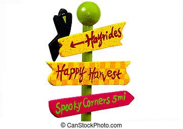 aantrekking, halloween, meldingsbord