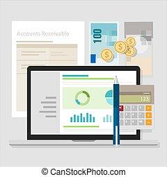 aanvaardbare rekening, boekhouding, software, geld,...
