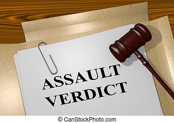 aanval, vonnis, wettelijk, concept