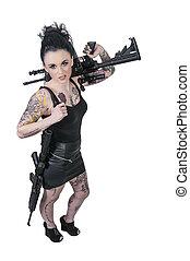 aanval, vrouw, geweer