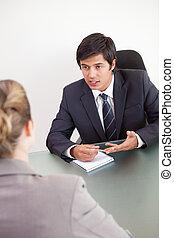 aanvrager, verticaal, directeur, het interviewen, vrouwlijk