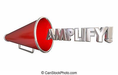 aanvullen, bullhorn, megafoon, krijgen, luider, woord, 3d, illustratie
