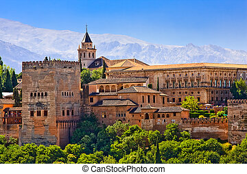 aanzicht, alhambra, granada, ondergaande zon