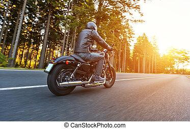 aanzicht, bestuurder, achterweg, motorfiets