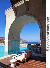 aanzicht, boog, vakantiepark, (greece), pool, terras, zomer...