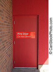 aanzicht, deur, buiten, vuur