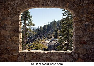 aanzicht, door, een, steen, venster