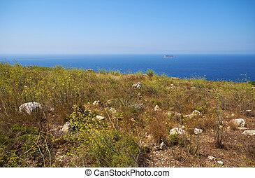 aanzicht, eilandje, qrendi, kust, filfla, achtergrond.