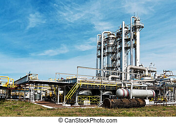 aanzicht, gas, verwerking, factory., gas, en, olie industrie