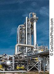 aanzicht, gas, verwerking, factory.
