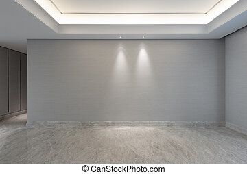 mpty, breed, plafond, kamer, lampen, kleine, witte , ronde ...