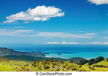 aanzicht, kust, nieuw-zeeland