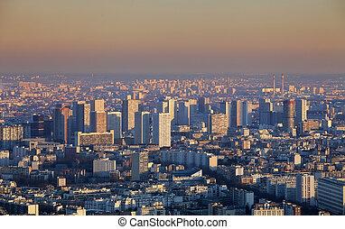 aanzicht, ondergaande zon , panorama, -, parijs, luchtopnames, stad