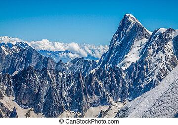 aanzicht, op, de alpen, van, de, aiguille du midi, chamonix.