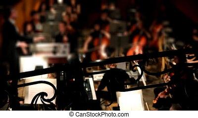 aanzicht, op, orkest, in, theater