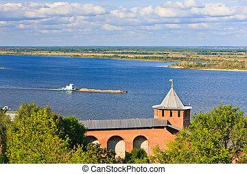 aanzicht, op, volga rivier, van, nizhny novgorod, kremlin,...