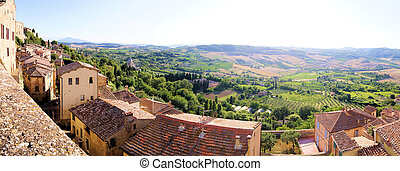 aanzicht, panoramisch, tuscany, landscape