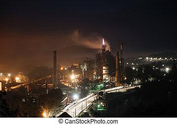 aanzicht, plant., industriebedrijven, nacht, reus