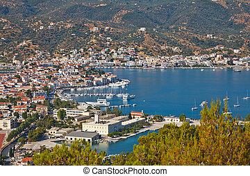aanzicht, poros, griekenland