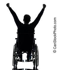 aanzicht, silhouette, verhevene armen, wheelchair, gehandicapt, man, achterkant