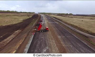 aanzicht, snelweg, luchtopnames, bouwsector, nieuw