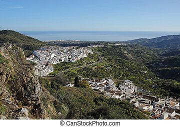 aanzicht, spaanse , del, mooi, blancos, pueblos, sol, costa, een, frigiliana-, andalusia, panoramisch