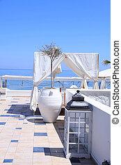 aanzicht, terras, greece., romantische, zee
