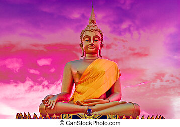 aanzicht, van, boeddha, standbeeld, in, thailand