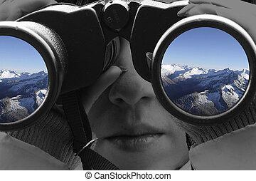 aanzicht, van, de, bergen, door, een, verrekijker