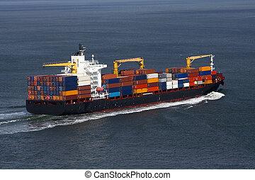 aanzicht, van, de, container, vrachtschip