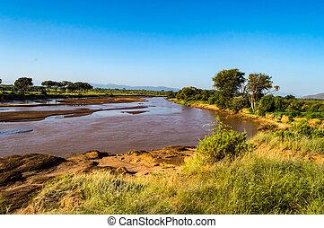 aanzicht, van, de, ewaso, ng'iro, rivier, in, de, savanne, van, samburu, park