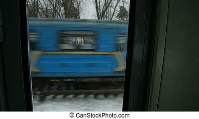 aanzicht, van, de, trein, venster.