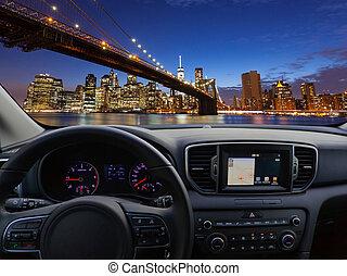 aanzicht, van, een, auto, dashboard, in, nieuw, het reizen,...