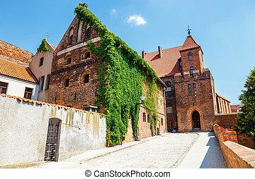 aanzicht, van, historisch, gebouwen, in, pools, middeleeuws,...