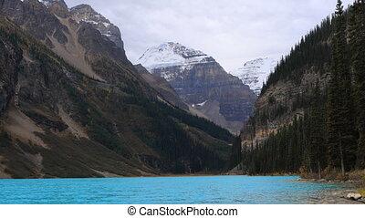 aanzicht, van, meer louise, in, nationaal park banff, canada
