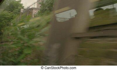 aanzicht, van, muur, van, train.
