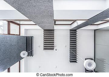 aanzicht, van, plafond
